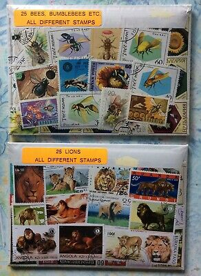 25 Bee & 25 Lion Picture World Stamp Pack. All Different. Sealed In Packets.No 7