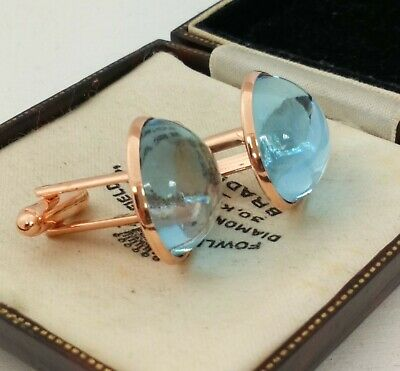 Vintage - 1970s Aqua Turquoise Blue Glass Large 20mm Round Rose Gold Cufflinks
