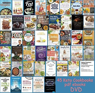 LOT of 45 Keto Diet Cookbooks PDFs DVD Instant Pot Fat Bombs Low Carb+ ~ON SALE!