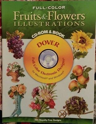 Dover Fruits and Flowers Illustrations Book & CD Clip Art Digital Ephemera Scrap