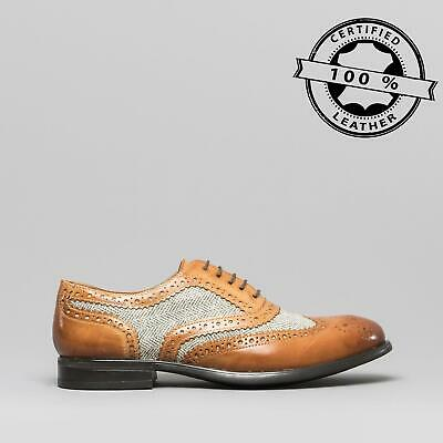 Mister Carlo MONTY II Mens Leather/Tweed Brogue Lace Up Oxford Shoes Tan/Tweed