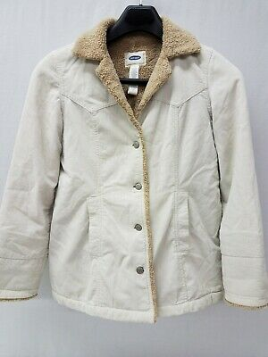 3df4d2e3842 Old Navy Sherpa Lined Beige Corduroy Jacket Coat Womens Medium Western Barn