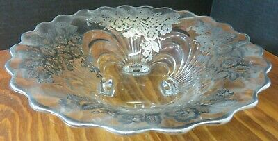 Vintage Scalloped Footed Floral Sterling Silver Overlay Glass Bowl Excellent Con