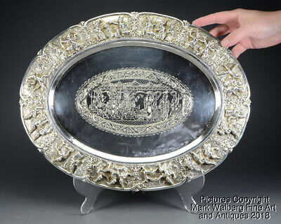 LARGE Thai Silver Repoussé Serving Tray, Engraved Court Scene, Late 19/Early20C