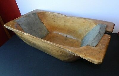 Antique Primitive Hand Carved Wooden Dough Bowl with Old Repairs