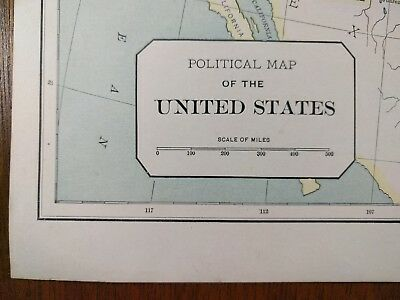 "Vintage 1896 UNITED STATES POLITICAL Map 14""x11"" ~ Old Antique Original USA MAPZ"