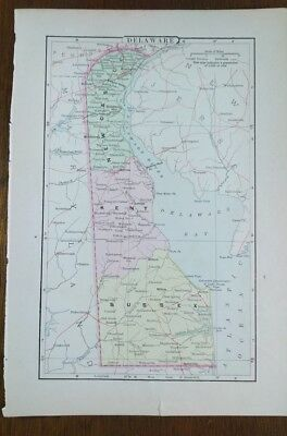 "Vintage 1896 DELAWARE Map 7""x10"" Old Antique Original WILMINGTON NEWARK MAPZ"