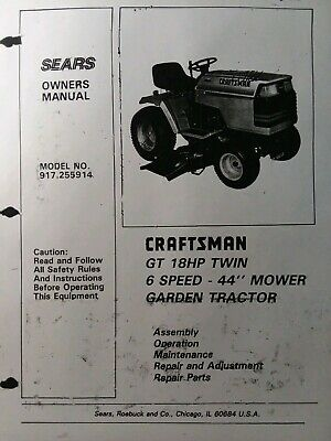 [SCHEMATICS_4FR]  SEARS CRAFTSMAN GT/18 twin 6sp 1988 Lawn Garden Tractor Owners Manual  917.255914 - $55.24 | PicClick | Wiring Diagram Sears Gt18 |  | PicClick