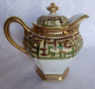 Magnificent Antique NIPPON  Gold Encrusted & Jeweled Moriage Teapot Old Mark