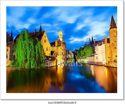 Famous View Of Bruges At Night Art Print/Canvas Home Decor Wall Art Poster - I