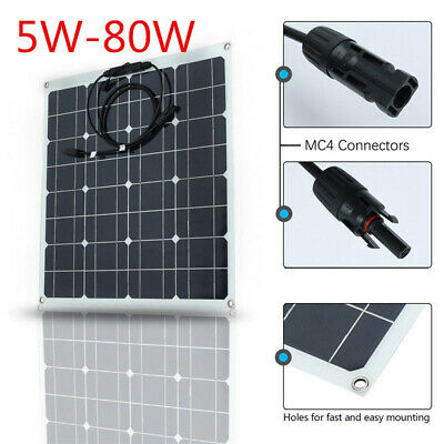 5W-80W 12V-18V DC/USB 5V Solar Panel Sun-Power Battery Camping Traveling Charger