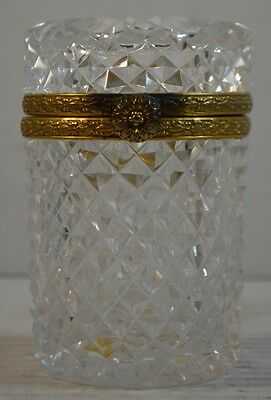 Vintage French Cut Crystal and Brass Box