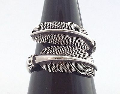 Mens Womens Sterling Silver 925 Feather Bypass Jewelry Ring Free Size 9 10 11