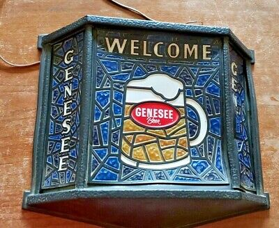 "Vintage Genesee Beer Faux Stained Glass Design Plastic Light Up Sign 16"" X 17"""