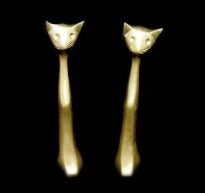 Vintage pair of tall solid brass cat ornaments