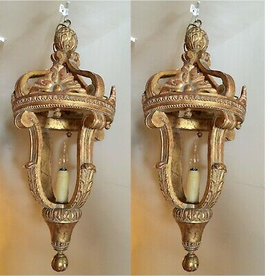 Pair (2) Antique Italian Gilt Wood Chandeliers/Lanterns