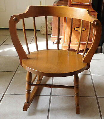 Vintage Antique Child's Child Oak Windsor Wooden Rocking Chair