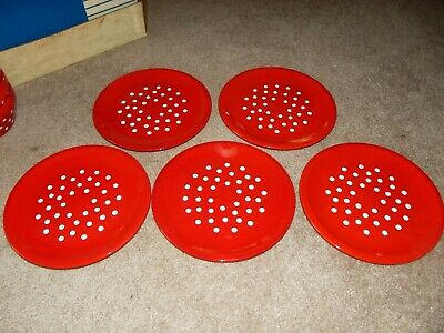 "(5) Dinner Plates 10"", Waechtersbach West Germany Red White Polka Dots VTG RARE"