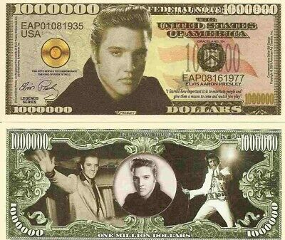 Elvis Aaron Presley King of Rock N Roll Dollar Bills x 2 American Actor Singer
