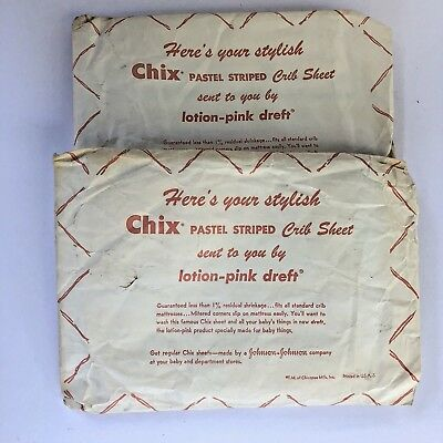 Vintage CHIX Pastel Striped Crib Sheets Mitered Corners Johnson & Johnson