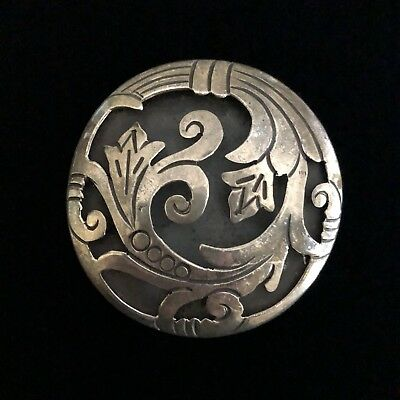 TAXCO Sterling Silver Brooch Pendant TORRES Circle Cutout Floral Design MEXICO