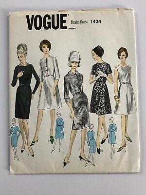 Vintage VOGUE Basic One-Piece Dress Uncut Pattern Sz 14 #1424