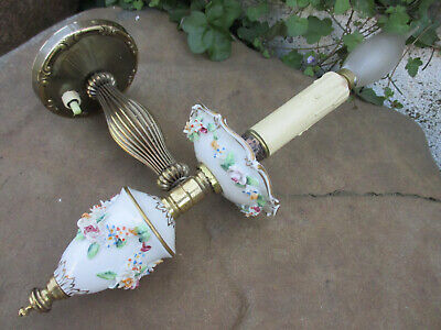 True Vintage in Brass & Porcelain Floral Ornate Beautiful Electric Wall Sconce