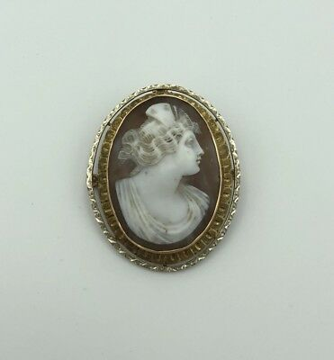 Vintage Antique 14K Yellow Gold Carved Shell Cameo Pin Brooch Pendant Lady