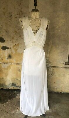 cdfef4939f560 Antique 1930s White Silky Crepe Rayon Slip Dress Lace Maxi Bias Bridal  Vintage