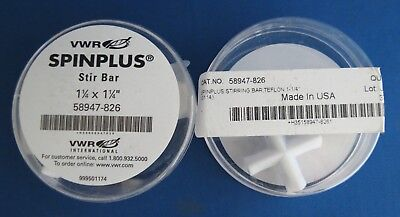 "2 VWR Spinplus Magnetic Stir Bars 1/1/4"" Teflon 58947-826 Cross Stirring Bar"