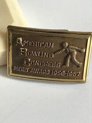 Vintage AMERICAN BOWLING CONGRESS Belt Buckle 1956-57 Merit Award 670 Pins