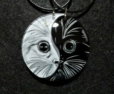Friendship Necklaces Yin Yang Kitten,Cat Jewelry,Best Friends,Anniversary Gift
