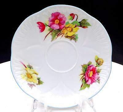 """Shelley England Dainty #13427 Begonia Pink And Yellow Floral 5 5/8"""" Saucer"""