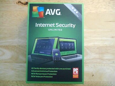 AVG Internet Security 2018//2019 Unlimited Devices 1 Year Boxed Version for PC
