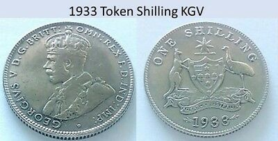1933  (Token) Shilling  Australian  KGV  Uncertified. Popular Placement