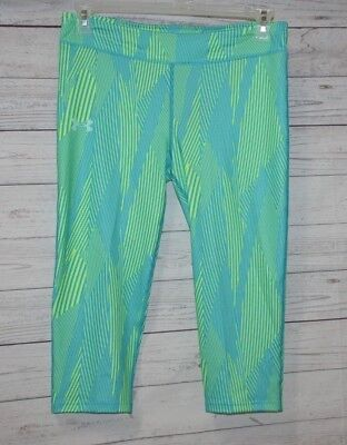 New Under Armour HeatGear Striped Capri Pants Youth Girls Size YXL