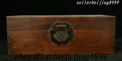 Antique Old Chinese Huali Wood Hand Carved Storage Jewelry Box Chest Bin Statue