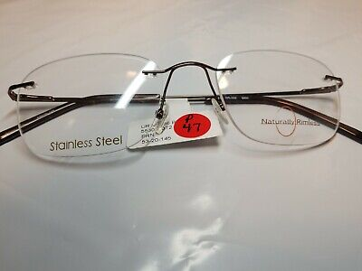 8cd29116bee1 Naturally Rimless NR 356 EYEGLASSES FRAMES stainless steel 23-20-145 Brown  RX