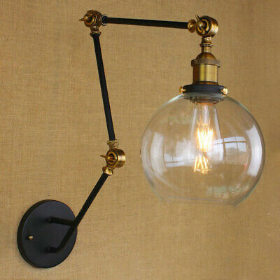 Industrial Vintage Swing Arm Wall Lamp Glass Shade Wall Sconce Lighting Fixture