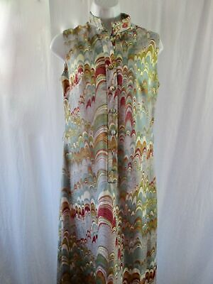 VTG Maxi Dress Leslie Fay Sz 10 Sleeveless Poly Mandarin Collar Needs Buttons