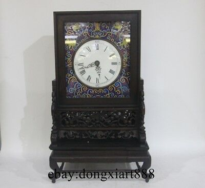 Chinese Retro Bronze Cloisonne Red Wood Frame Box Mechanical Swing Table Clock