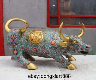 22 Pure Bronze Cloisonne Lucky Chinese Zodiac Animal Ox Oxen bull Wealth Statue