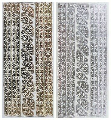 Embossed ORNATE BORDERS & CORNERS Peel Off Stickers Swirl Gold or Silver Clear