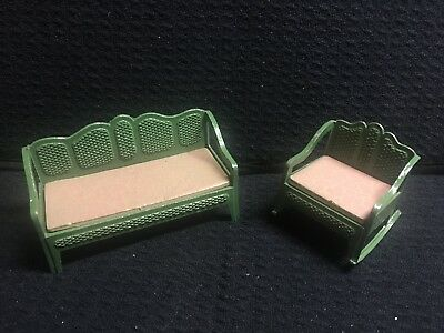 Green Wicker Metal TootsieToy Parlour Set Rocking Chair Miniature Doll Furniture