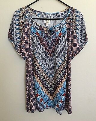 7a8fa01a3fc605 Fig and Flower Anthropologie Short Sleeve Peasant Top Multi-Color Large NWT