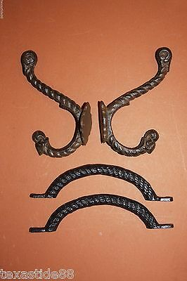 (4) pcs, FARM AND RANCH DRAWER PULL WALL HOOK SET,CAST IRON, RUSTIC ,H-44,HW-15