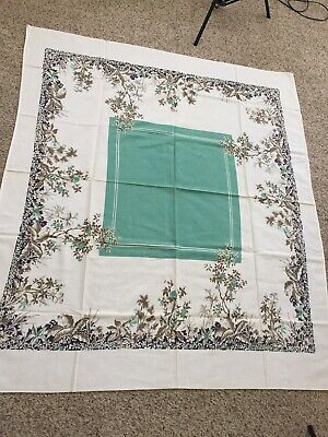 """VTG Tablecloth Green With Tropical Vines 47"""" X 55"""" MC Mid Century"""