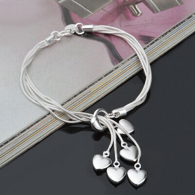 925 Sterling Solid Silver Heart Bangle Bracelet Chain For Women Jewelry 8""