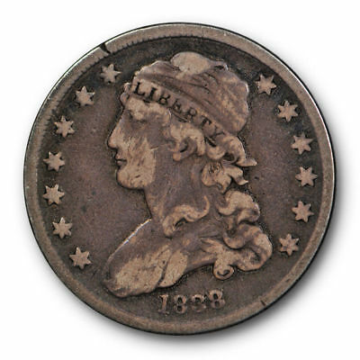 1838 Capped Bust Quarter Very Fine VF Toned Small Size US Type Coin #152