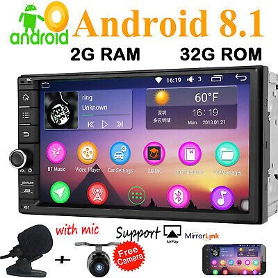 "7"" Android 8.1 Oreo 8Core 4G WiFi Double 2DIN Car Radio DAB Stereo GPS InDeck"